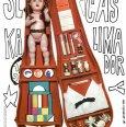 Plagát k filmu: Sladký čas Kalimagdory (1968). Zobrazenie: koláž, v otvorenom puzdre na husle bábika, detské stavebnicové kocky, zložená košeľa, strieborná a biela ruža, malé fľaštičky s liekmi.