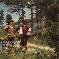 Pri poľnej ceste v lese stoja: vľavo Michal Dočolomanský (Vavrinec) a vpravo Štefan Kvietik (tovariš Krištof)