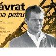 Plagát k filmu: Návrat Jána Petru (1984). Zobrazenie: koláž, mladý muž (Milan Kňažko), v pozadí zhorená strecha domu